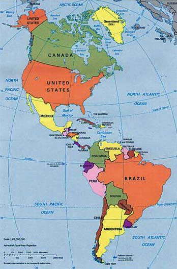 Pan America Map: Includes all of the Panamerican countries