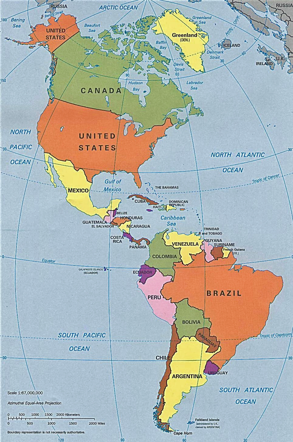 Pan America Map  Includes All Of The Panamerican Countries